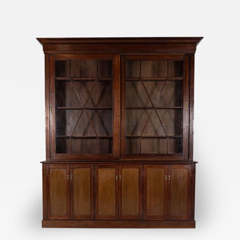 19thC English Large Mahogany Astral Glazed Bookcase