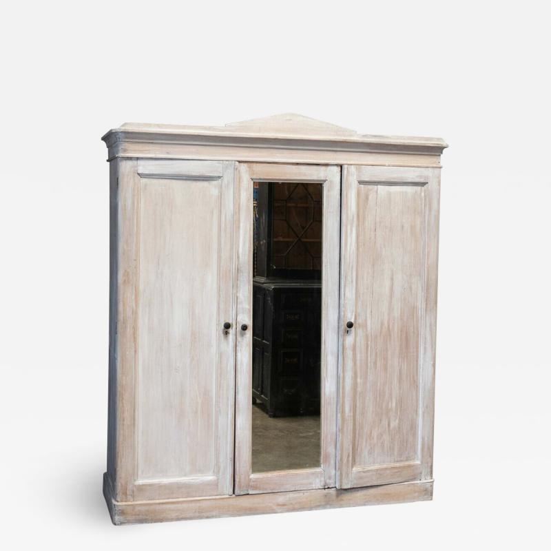 19thC English Painted Pine Compactum Wardrobe