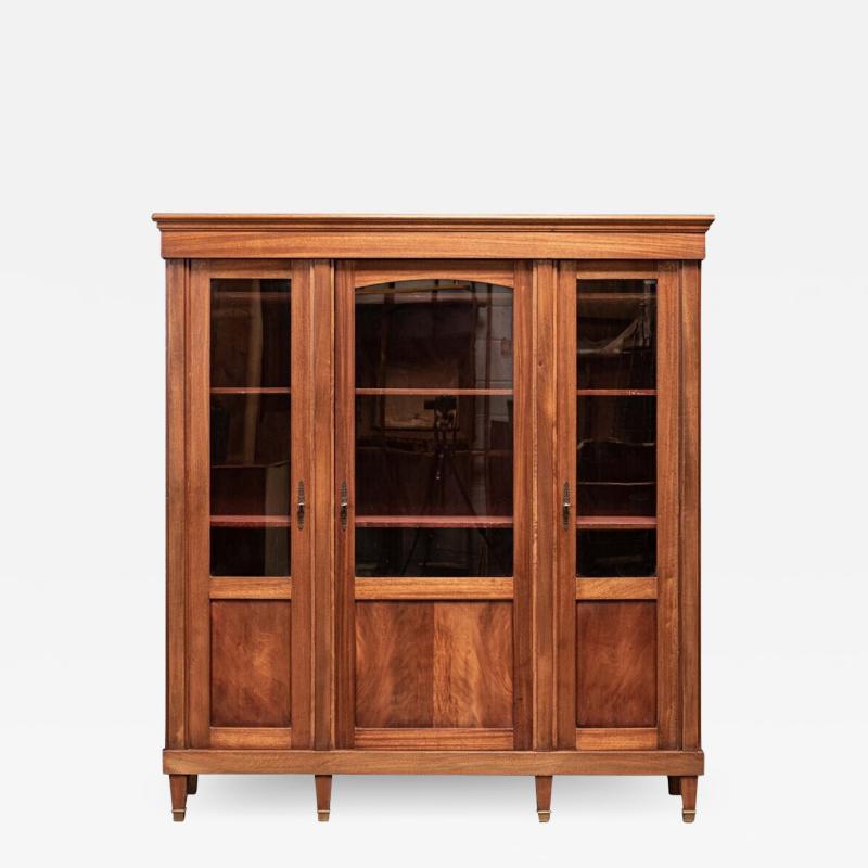 19thC French Mahogany Glazed Vitrine Bookcase Armoire