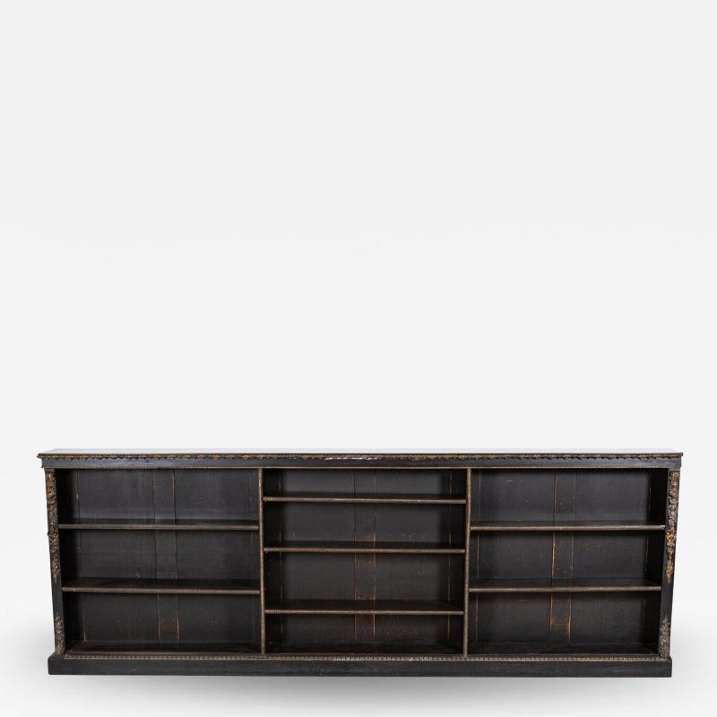 19thC Large English Ebonised Gilt Bronze Open Bookcase