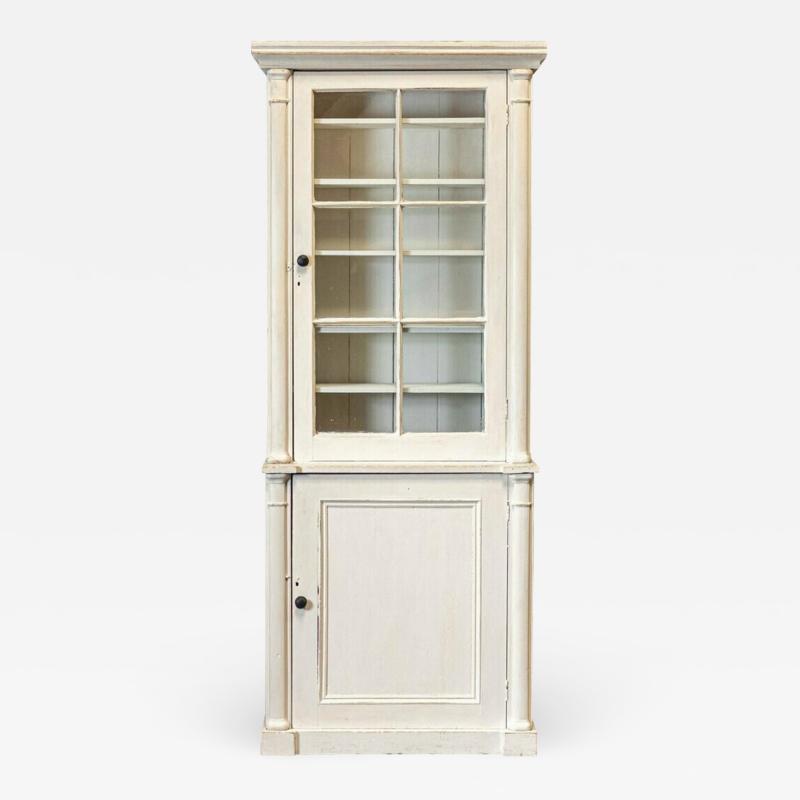 19thC Painted Glazed Bookcase Cabinet