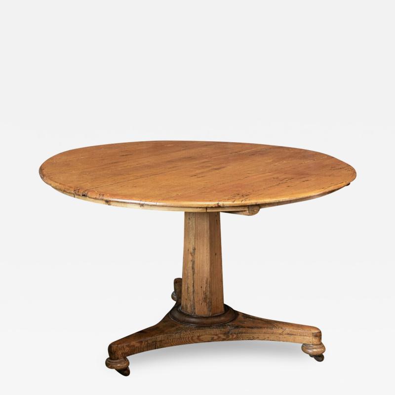 19thC Pine Pedestal Breakfast Centre Table
