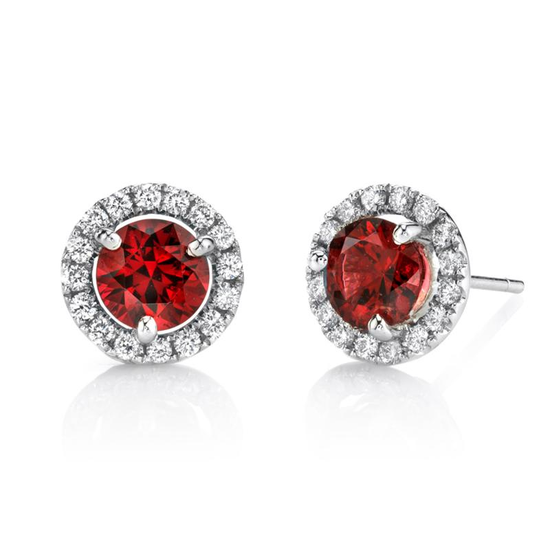 2 14 Carat Red Spinel and 0 32 Carat Diamond 18 Karat White Gold Earrings