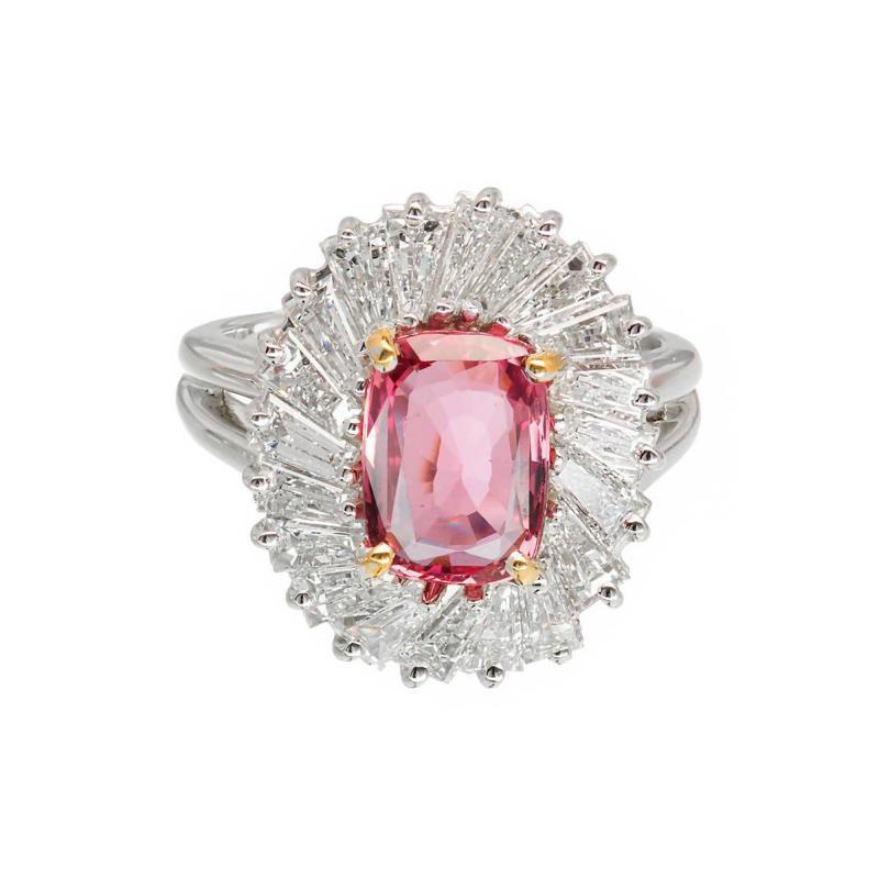 2 39 Carat Pink Sapphire Baguette Diamond Halo Platinum Gold Engagement Ring