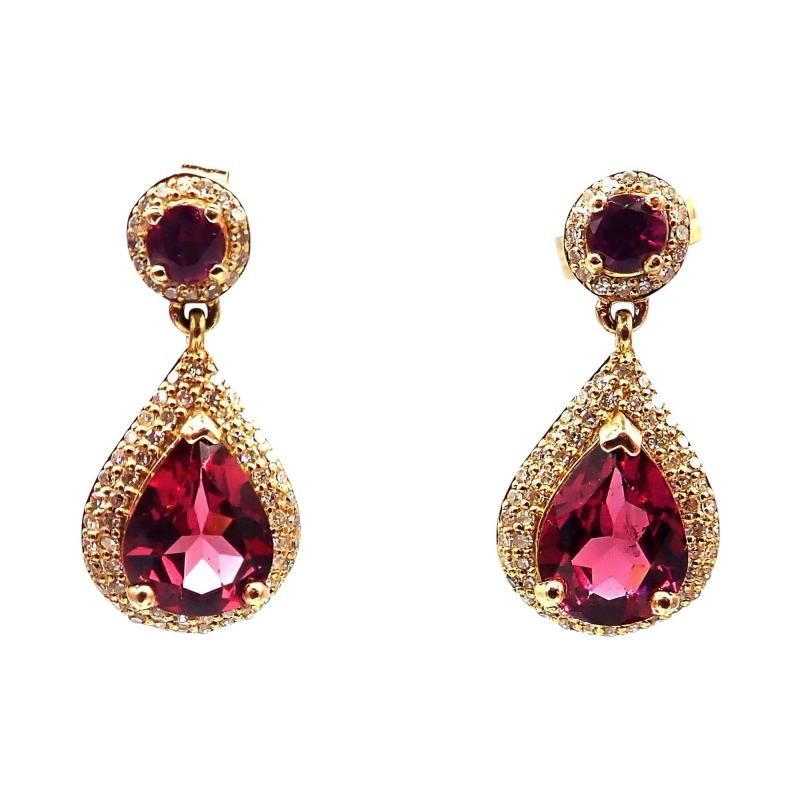 2 5CT Natural Rubellite Tourmaline and Diamonds Earrings 14KT Yellow Gold