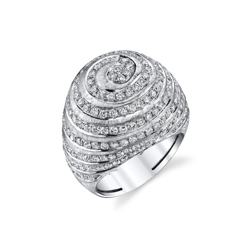 2 77 Carat Diamond 18k White Gold Dome Ring Art Deco Inspired