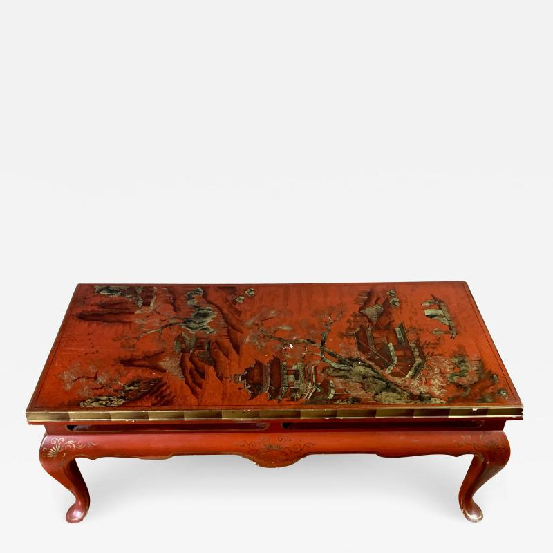 20th Century Chinese Scenic Red Lacquered Low Coffee Table