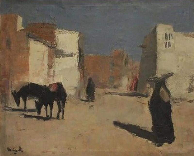 20th Century Oil Painting A Street in Luxor by Huub Hierck 1917 1978