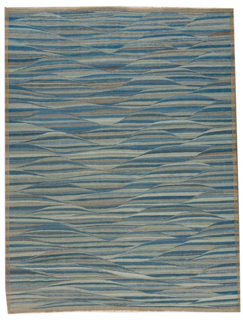 21st Century Modern Flatweave Kilim Style Wool Rug 9 x 12