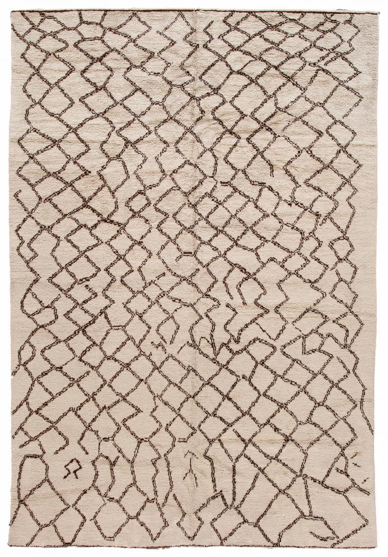 21st Century Modern Moroccan Beige Wool Rug