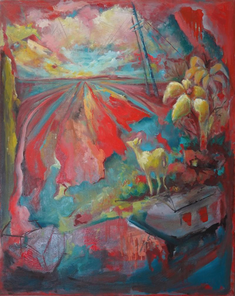 24 Cr Contact Point Contemporary Oil Painting by Ren e Rey