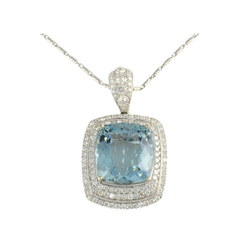 26 85 Carat Aquamarine Pendant Enhancer with Diamonds