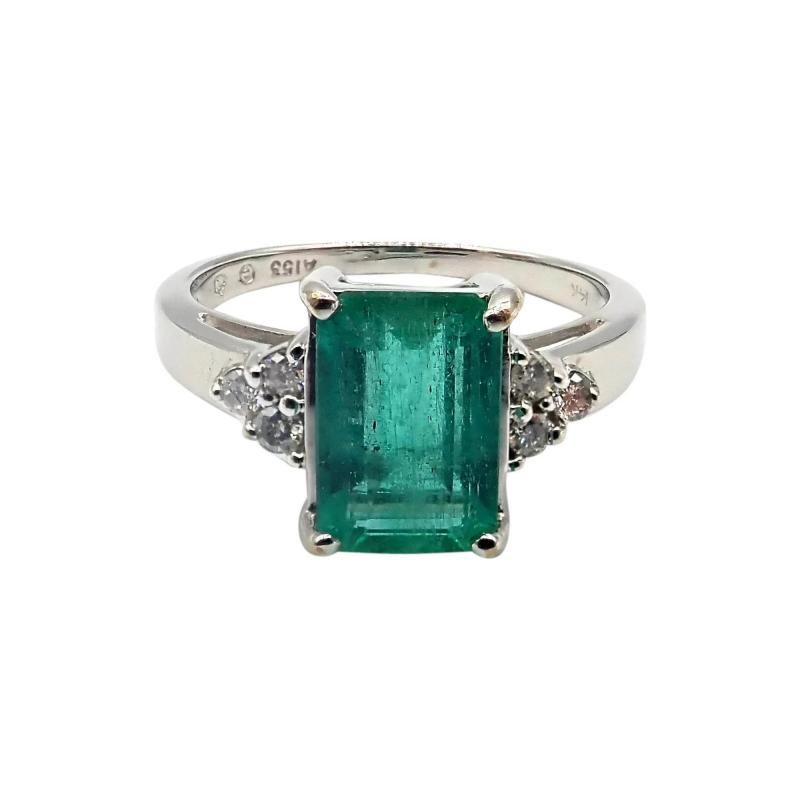 2CT Natural Colombian Emerald and Diamond 14KT White Gold Ring