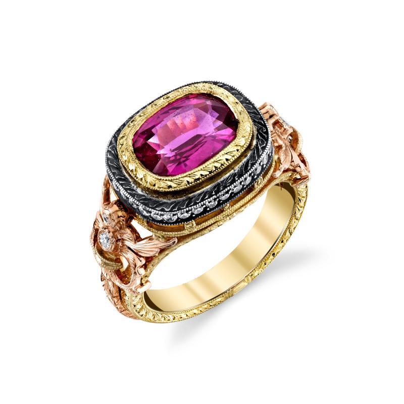 3 29 Carat Cushion Cut Pink Sapphire and Diamond 18 Karat Rose Gold Ring