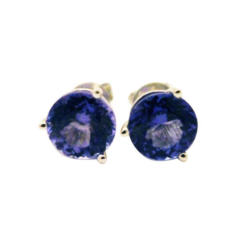 3 5 CT Natural Tanzanite Martini Stud Earrings 14KT White Gold