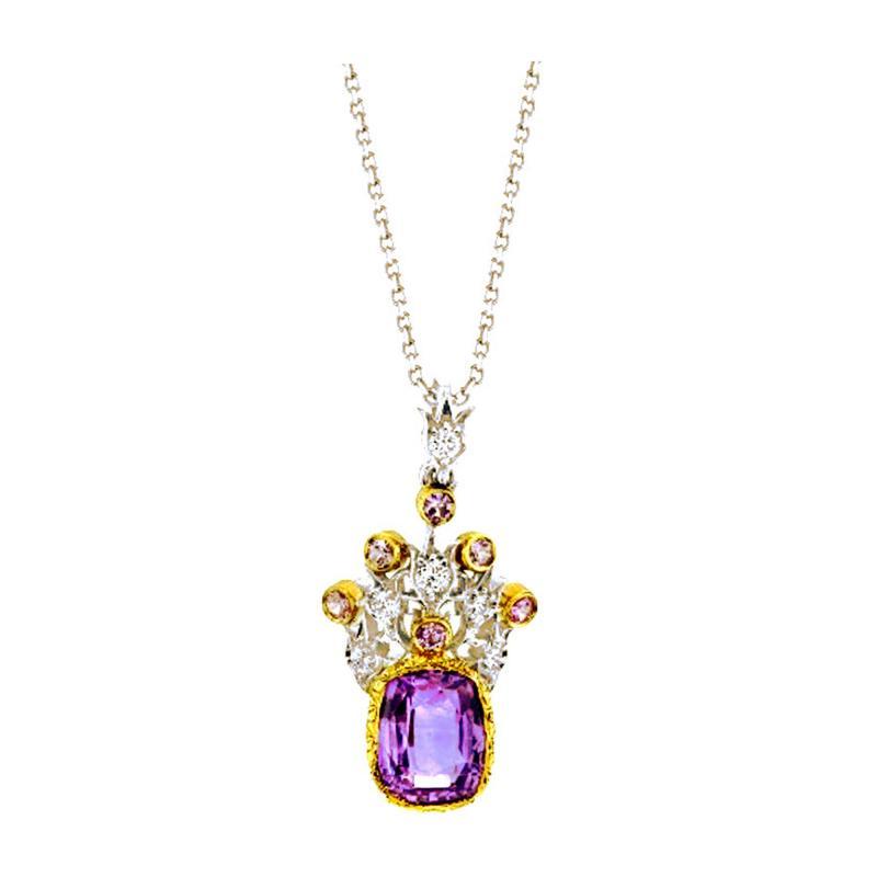 3 63 Carat Lavender Sapphire Pendant with Diamonds in 18 Karat Gold