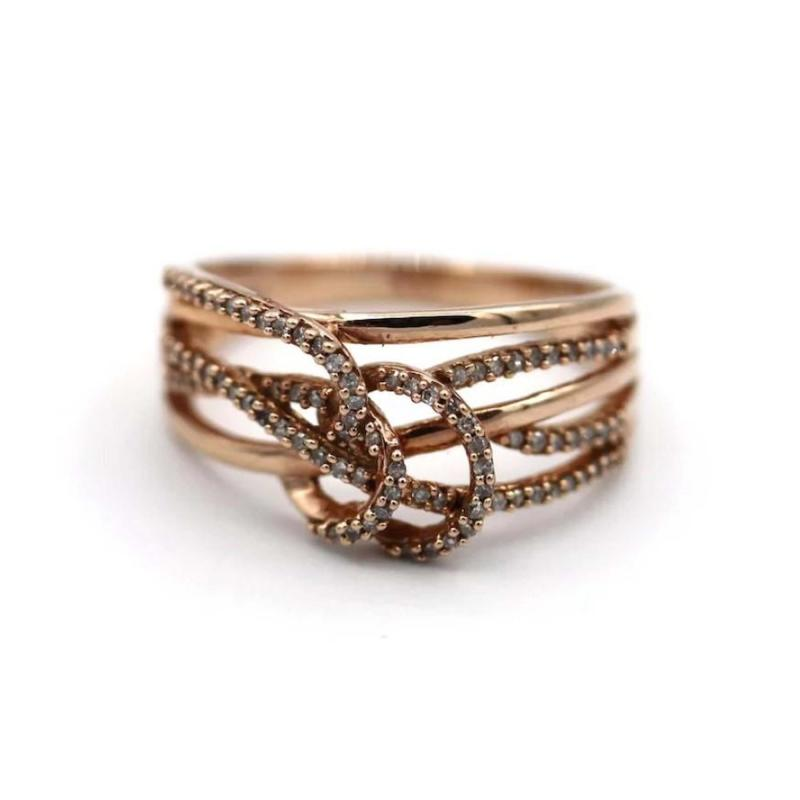 3 D Natural Diamond Ring in 10KT Rose Gold