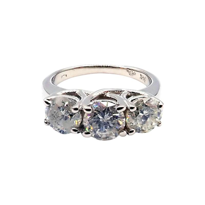 3 Stone Past Present Future Diamond Engagement Wedding Ring in 14KT White Gold