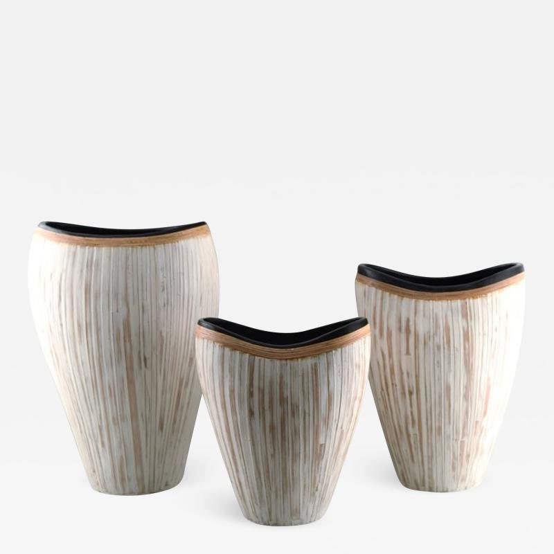 3 large modern pottery vases light glaze and wickerwork