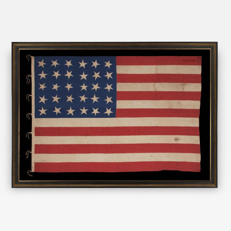 30 Stars on an Antique American Flag Made in the Period Between 1870 1890