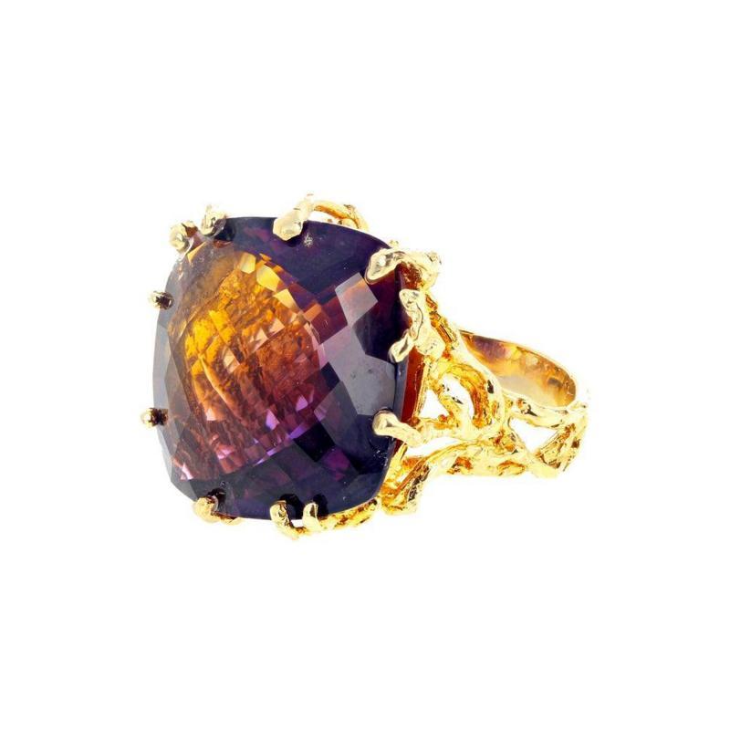 36 Carat Ametrine Amethyst Citrine Gold Ring