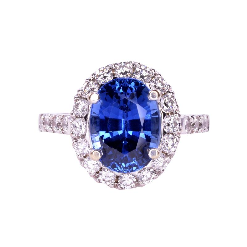 4 40 Carat GIA Certified Natural Sapphire and Diamond Ring Size 6