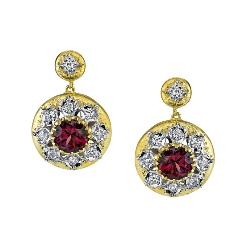 4 47 Carat Rose Zircon and Diamond 18 Karat White and Yellow Gold Earrings