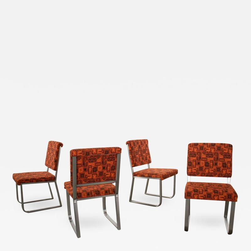 4 streamline railroad dining car chairs in stainless steel orange upholstery