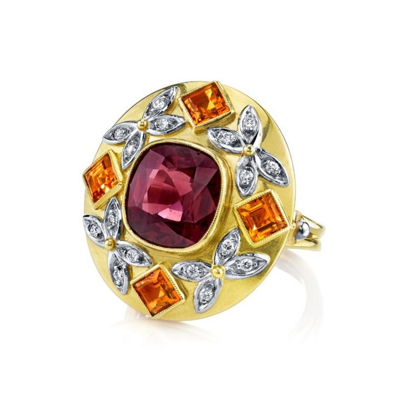 5 23 Carat Spinel Citrine and Diamond 18k Yellow and Rose Gold Ring