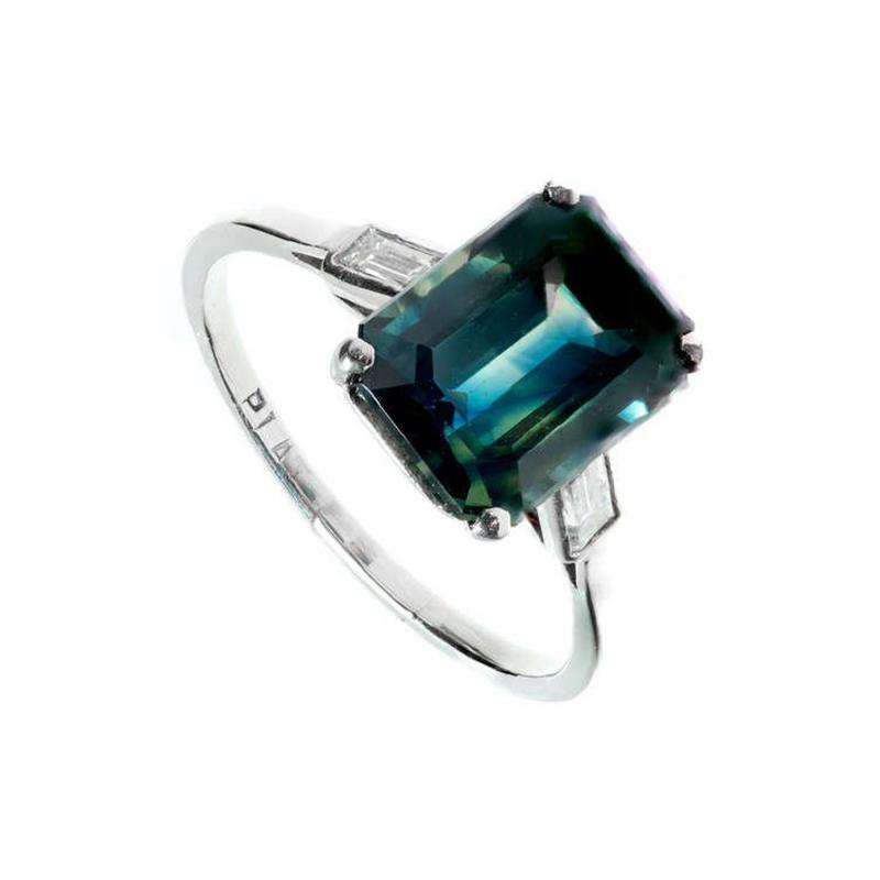 5 37 Carat Green Sapphire Diamond Three Stone Engagement Platinum Ring