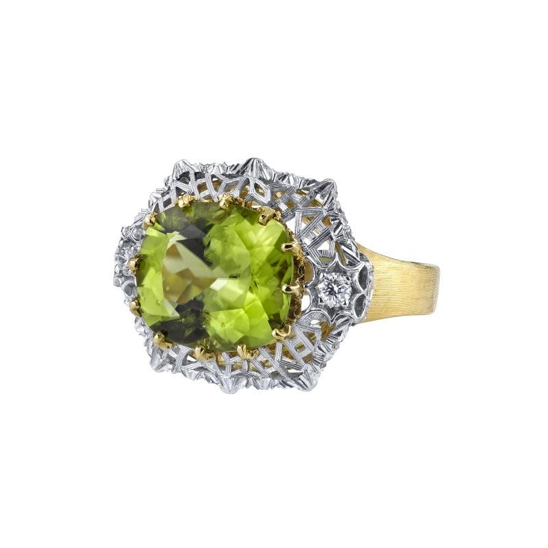 5 70 Carat Peridot and Diamond Ring