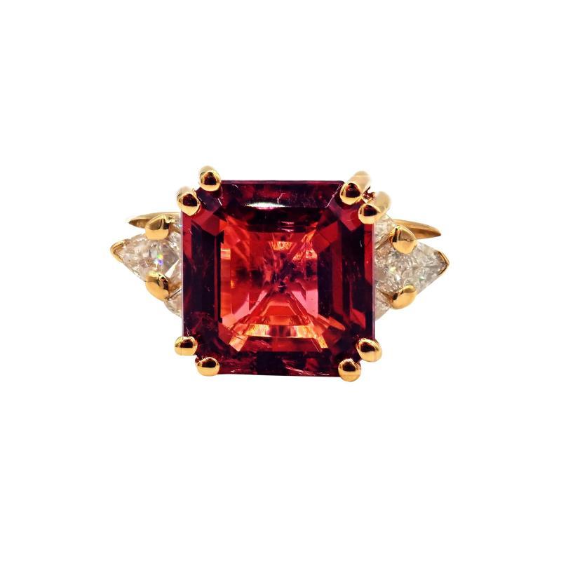 6CT Asscher Cut Padparadscha Pink Tourmaline Diamond Ring in 18 KT Yellow Gold