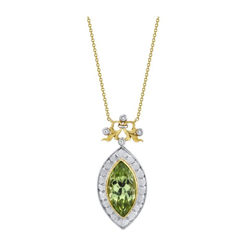 7 48 Carat Peridot and Diamond 18 Karat Yellow and White Gold Necklace