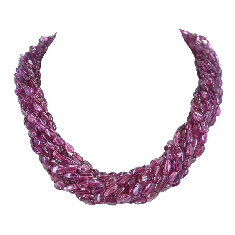 820 Carat Genuine and Natural Plain and Smooth Tourmaline Tumbled Beads Necklace