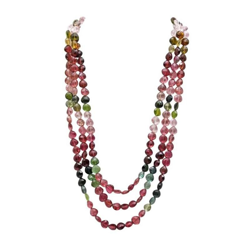 8mm Natural Triple strands Multi Color Watermelon Tourmaline Necklace 14KT Gold