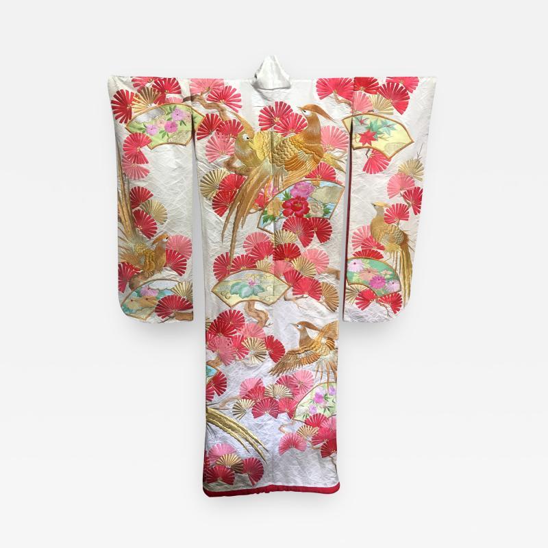 A Beautiful Embroidered Vintage Japanese Ceremonial Kimono