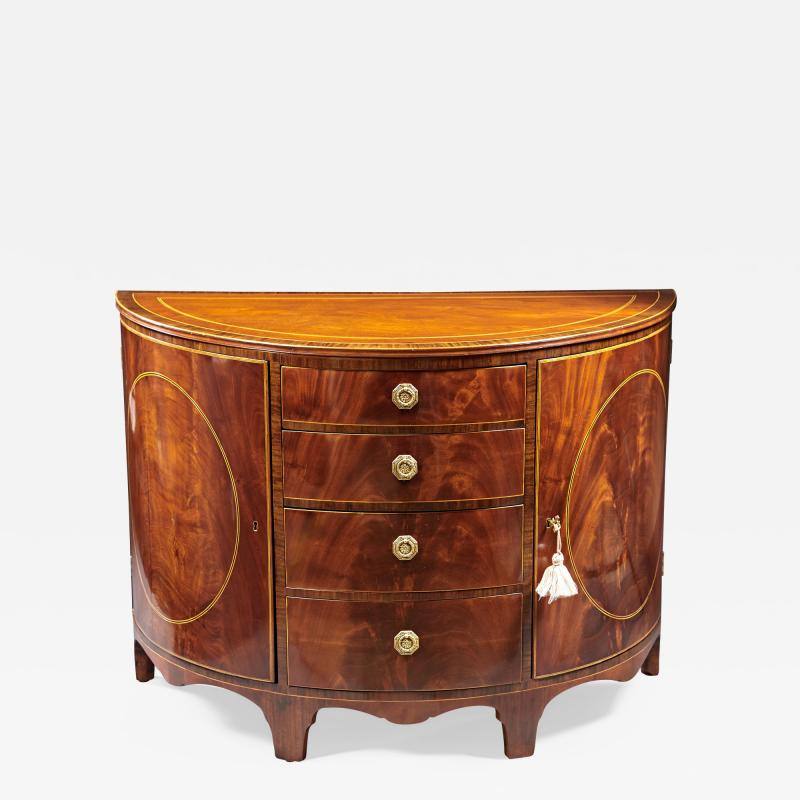 A Beautiful Georgian Mahogany Demi Lune Cabinet