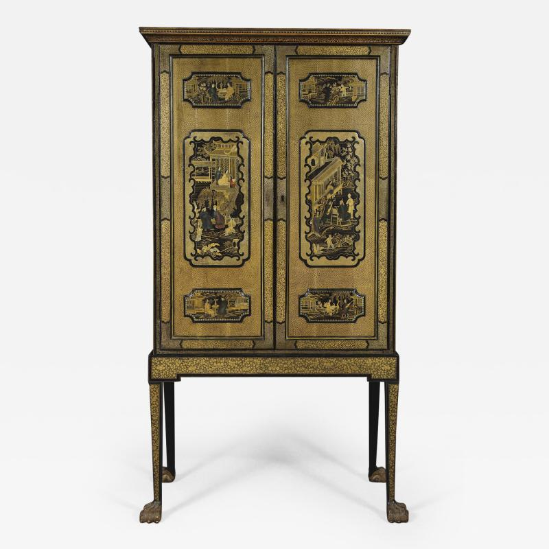 A Black Lacquer Polychrome And Two Color Gilt Cabinet On Original Stand