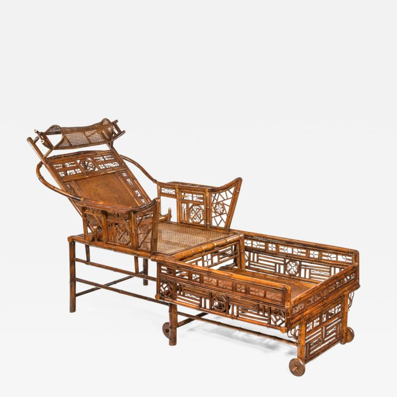 A Chinese Export Brighton Pavilion bamboo adjustable day bed