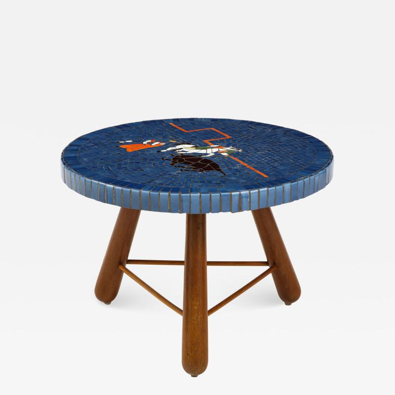 A Danish Tile top and Oak Side Table Circa 1940 1950