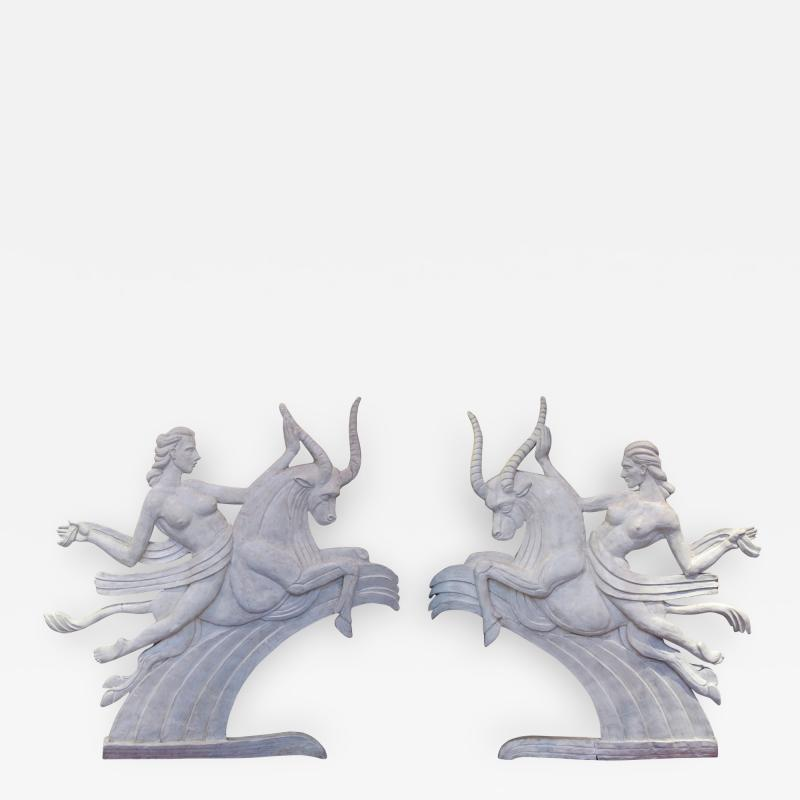 A Dramatic Pair of Art Deco Plaster Relief Panels