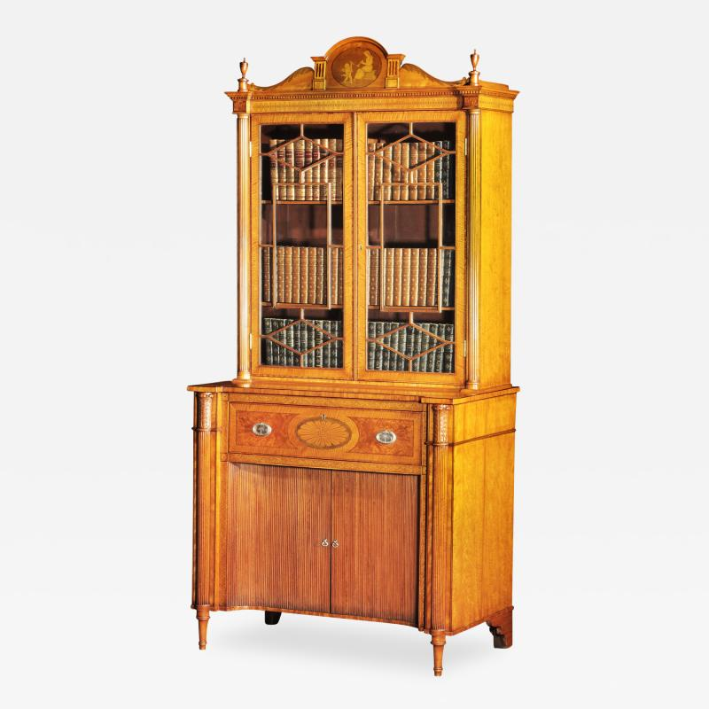 A Fine Edwardian Satinwood Secretaire Bookcase