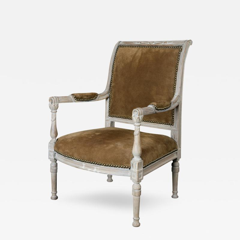A Fine French Late Directoire Miniature Fauteuil with Leather Upholstery