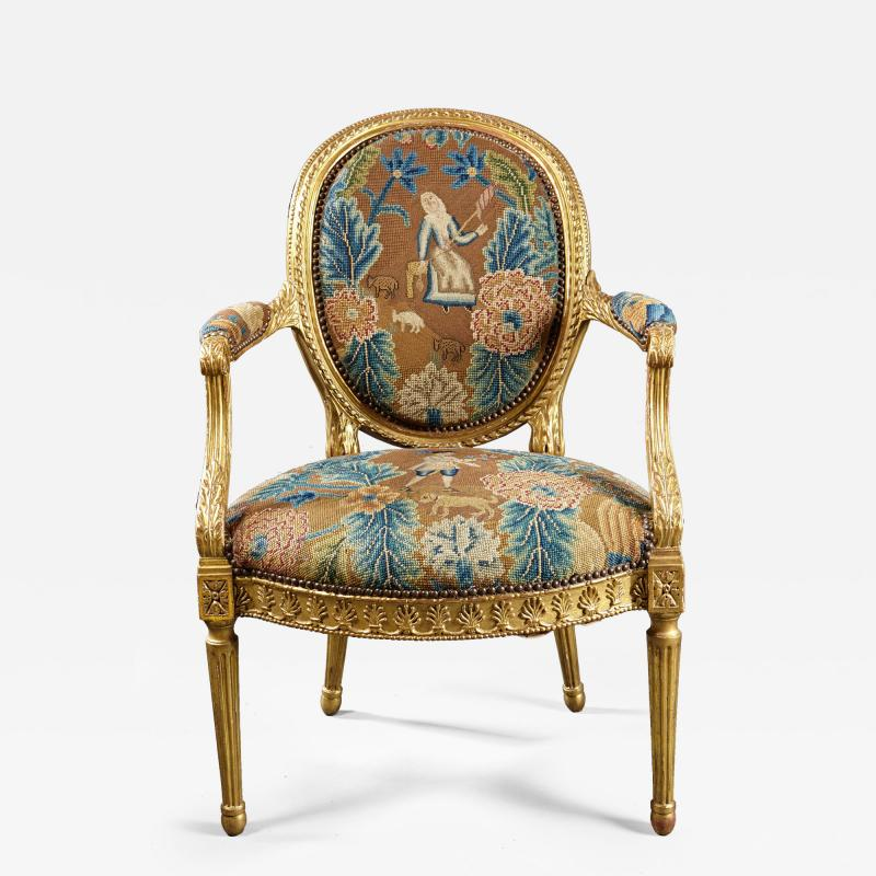 A Fine George III Adam Period Giltwood Fauteuil Armchair