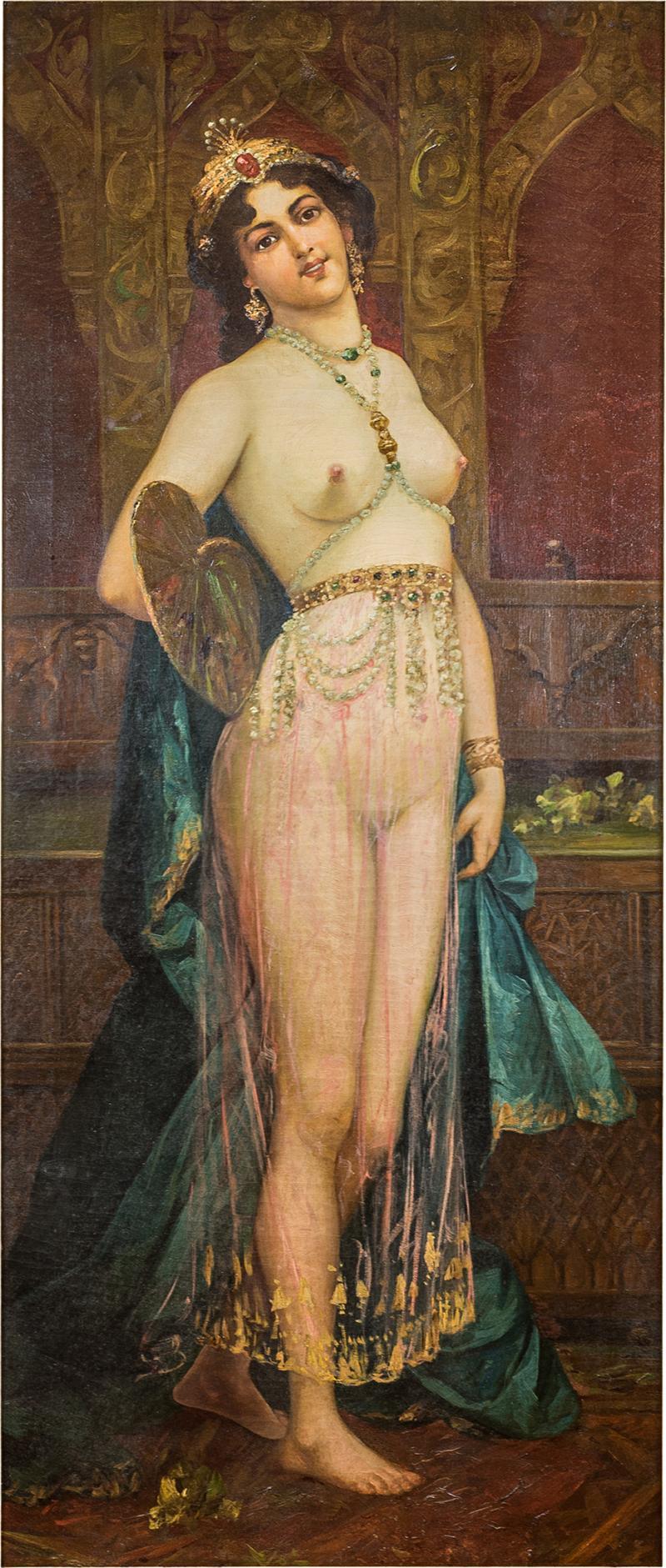 A Fine Orientalist Painting of a Beautiful Half Nude Odalisque Holding a Fan