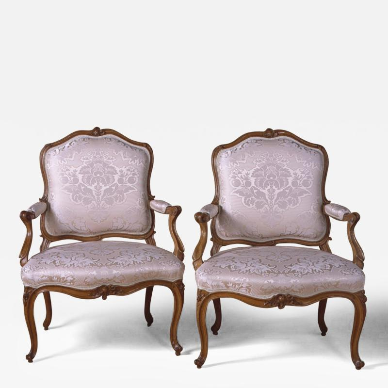 A Fine Pair of French Louis XV Period Fauteuils Stamped S Blanchard