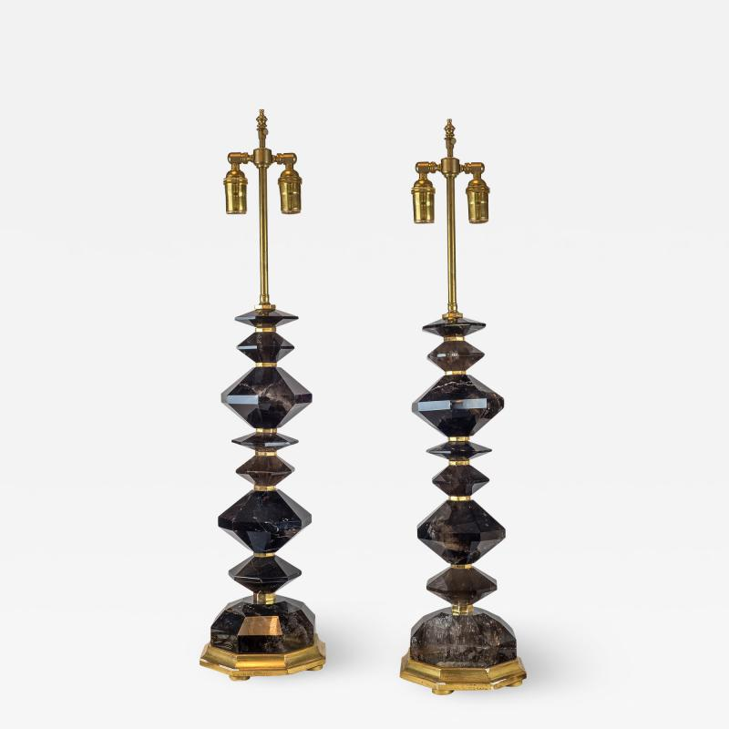 A Fine Pair of French Smoke Rock Crystal Table lamps