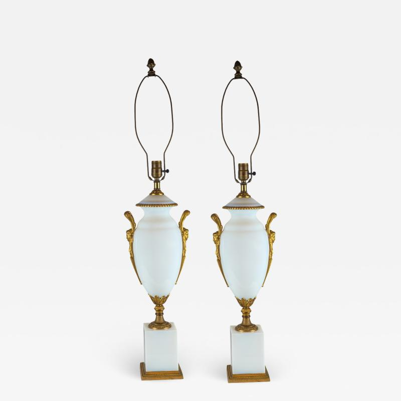 A Fine Pair of Ormolu Mounted White Opaline Lamps