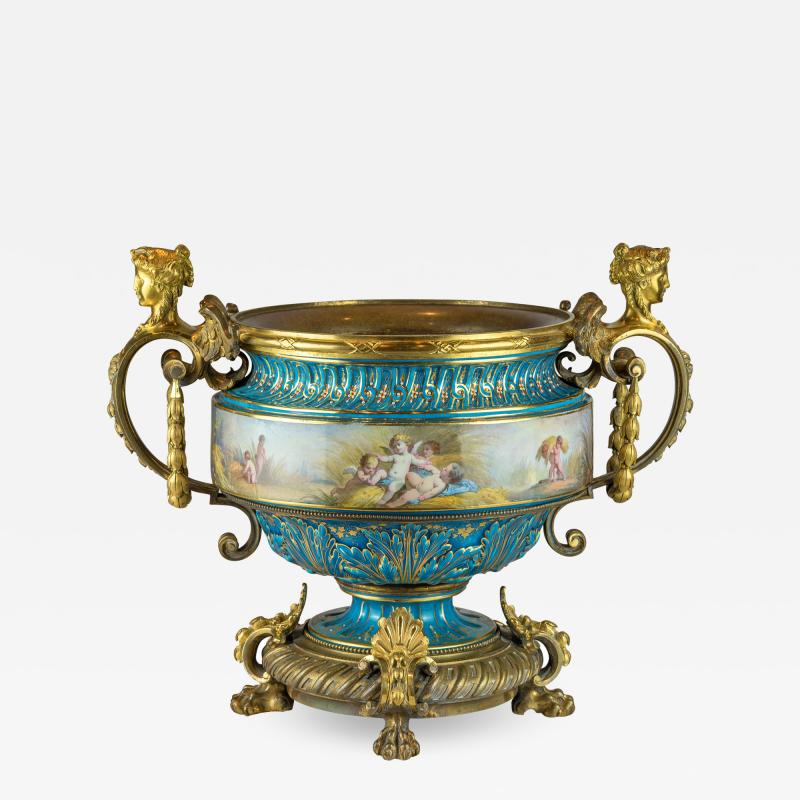 A Fine Quality Large S vres Style Porcelain and Gilt Bronze Centerpiece