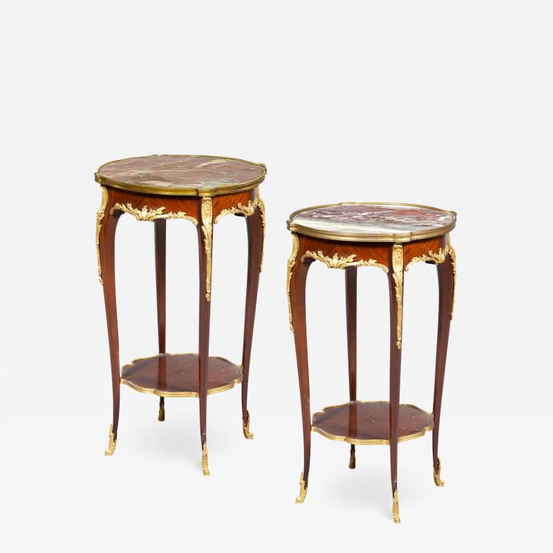 A Fine Quality Pair of Louis XVI style Marble top Side Table